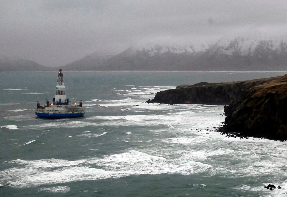 The Royal Dutch Shell drilling rig Kulluk sits aground off a small island near Kodiak Island, Wednesday, Jan. 2, 2013. (U.S. Coast Guard)
