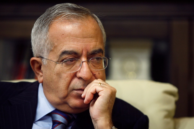 Palestinian Prime Minister Salam Fayyad pauses during an interview with the Associated Press in the West Bank city of Ramallah, Sunday, Jan. 6, 2013. (AP / Majdi Mohammed)