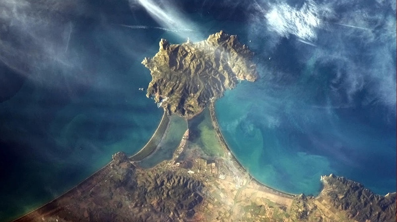 Canadian astronaut Chris Hadfield posted this image on Twitter with the caption 'Italian coast - like a diamond set in a ring' on Sunday, Jan. 6, 2013.