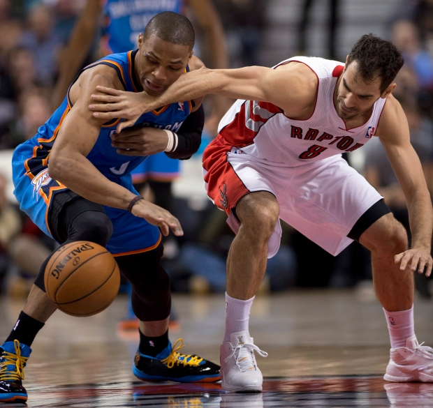 Jose Calderon, Russell Westbrook battle for ball