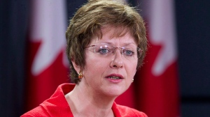 Human Resources Minister Diane Finley speaks at a news conference in Ottawa on May 24, 2012. (Adrian Wyld / THE CANADIAN PRESS)