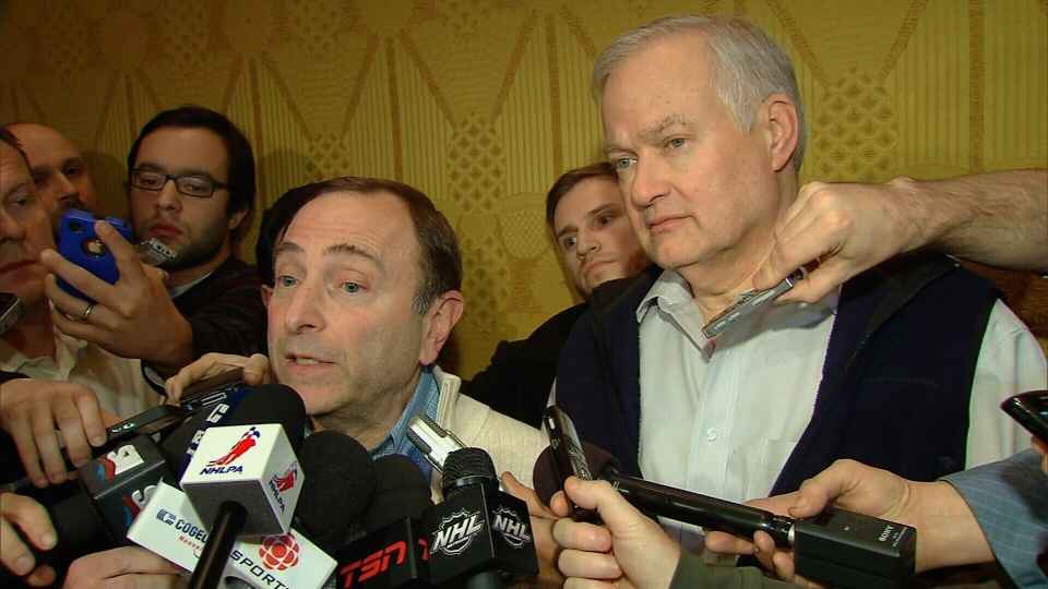 NHL Commissioner Gary Bettman and NHLPA executive director Donald Fehr speaks to the media after a tentative deal was reached, Sunday, Jan. 6, 2012.