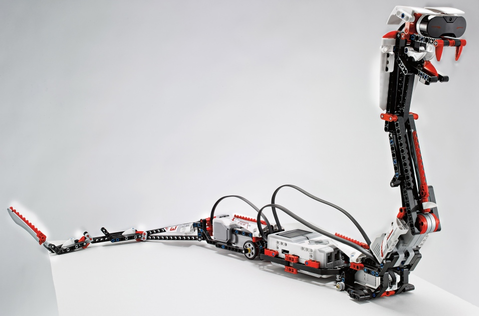 This undated photo provided by Lego shows 'Reptar,' a robotic snake that is one of 17 possible creations available in the new, $350 Lego Mindstorms EV3 platform that will have the ability to talk to iPhones, iPads and iPod Touches through Bluetooth wireless connections. (LEGO)