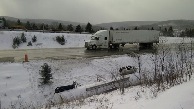 RCMP responded to a collision between two transport trucks early Monday.