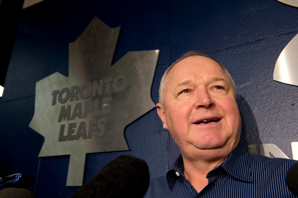Toronto Maple Leafs head coach Randy Carlyle speaks to reporters during a news conference in Toronto on Monday Jan. 7, 2013. (Frank Gunn / THE CANADIAN PRESS)