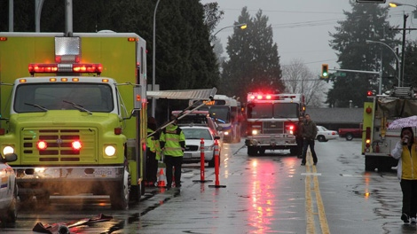 Fire destroyed five of the 66 suites in the Bon Terra building on 150th Street in Surrey on Sunday morning. Dec. 12, 2010. (Shane MacKichan/CTV)