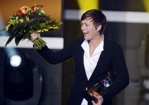 Abby Wambach celebrates after winning the FIFA Women's World Player of the Year Award in Zurich, Switzerland, Monday, Jan. 7, 2013. (AP / Keystone, Walter Bieri)