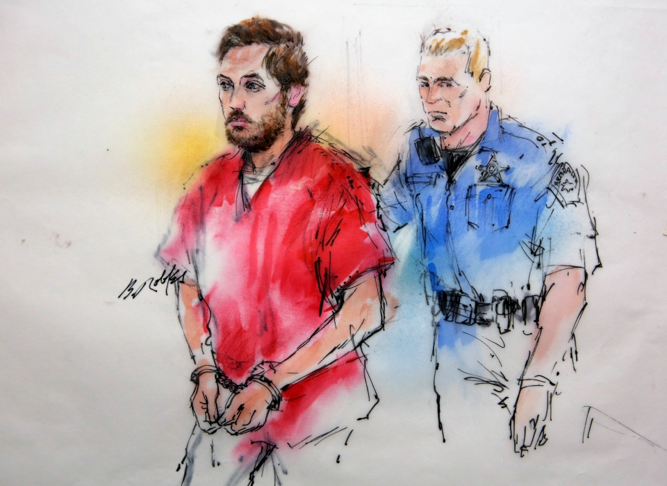 This courtroom sketch shows James Holmes being escorted by a deputy as he arrives at preliminary hearing in district court in Centennial, Colo., on Monday, Jan. 7, 2013. (AP / Bill Robles)