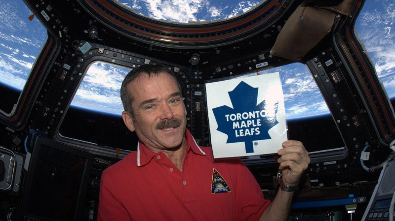 Cmdr. Chris Hadfield shows his support for the Toronto Maple Leafs from the International Space Station on Sunday, Jan. 6, 2013. (Photo courtesy Twitter)