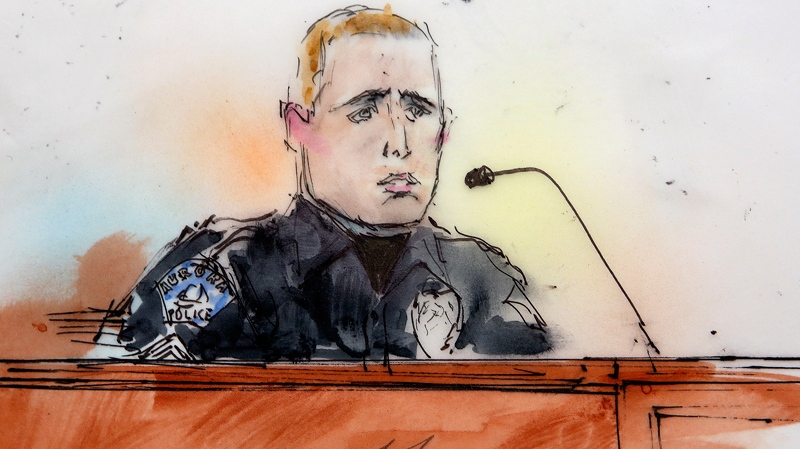 This courtroom sketch shows Aurora Police officer Justin Grizzle as he testifies at a preliminary hearing for James Holmes at a district court in Centennial, Colo., on Monday, Jan. 7, 2013. (AP / Bill Robles)