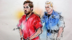 This courtroom sketch shows James Holmes being escorted by a deputy as he arrives at preliminary hearing in district court in Centennial, Colo., Monday, Jan. 7, 2013. (AP / Bill Robles)