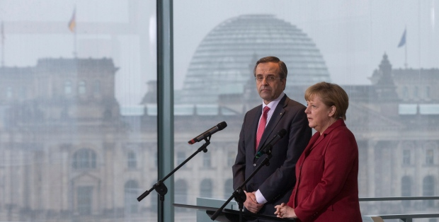 Merkel and Samaras in Berlin Jan. 8, 2013