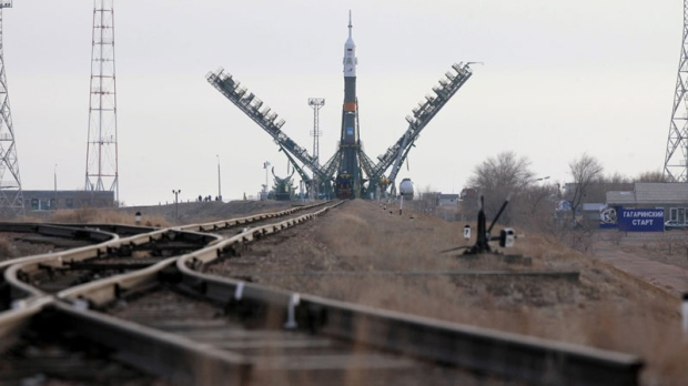 The Russian Soyuz TMA-20 space ship that will carry new crew to the International Space Station, ISS, is installed at the launch pad at the Russian leased Baikonur cosmodrome, Kazakhstan, Monday, Dec. 13, 2010. (AP Photo/Dmitry Lovetsky)