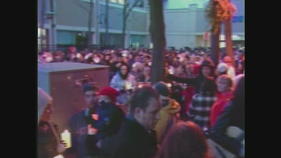Hundreds of people gathered for a vigil in honour of Noelle Paquette in Sarnia, Ont. on Monday, Jan. 7, 2013.