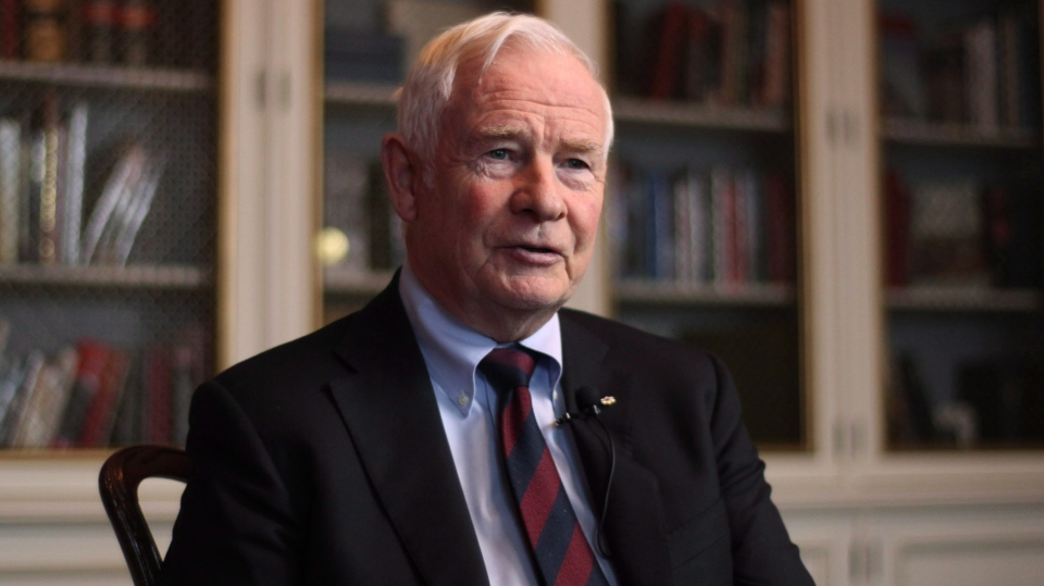 FILE - Governor General David Johnston responds to questions during a one-on-one interview at his official residence, Rideau Hall, in Ottawa on Wednesday, November 28, 2012. (Patrick Doyle / THE CANADIAN PRESS)