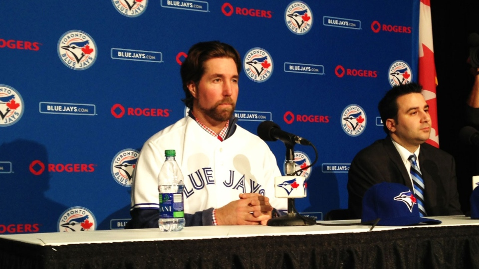 R.A. Dickey said he's looking forward to calling himself a Canadian for six months a year while being introduced by the Toronto Blue Jays at Rogers Centre on Tuesday, Jan. 8, 2013. (Danny Pinto / CTV Toronto)