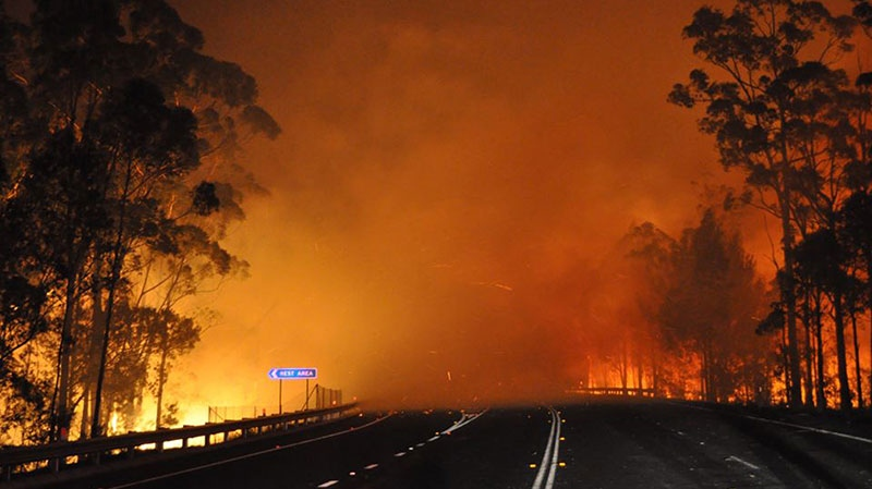 A wildfire crosses the Princes Highway near Deans Gap, Australia, Tuesday, Jan. 8, 2013. (NSW Rural Fire Service, James Morris)