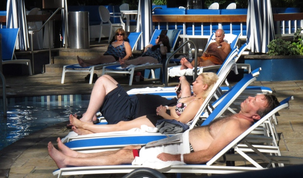 Vacationers in Atlantic City on Oct. 16, 2012.