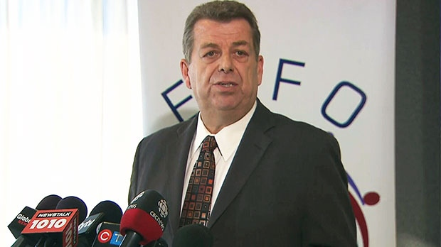 ETFO president Sam Hammond speaks to the media in Toronto on Wednesday, Jan. 9, 2012.