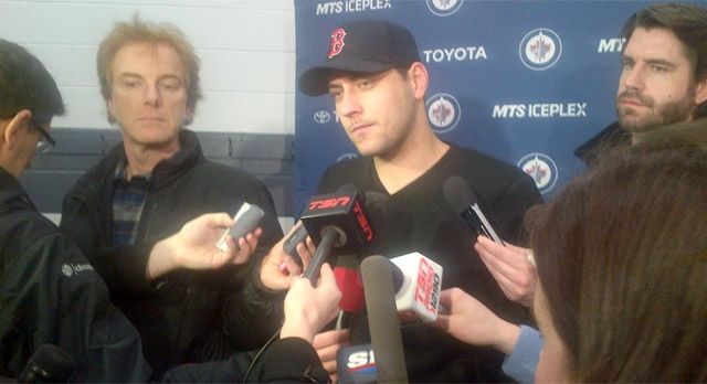 Jets goalie Ondrej Pavelec speaks with reporters in Winnipeg on Jan. 9, 2013.