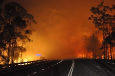 Wildfire crosses highway in Australia