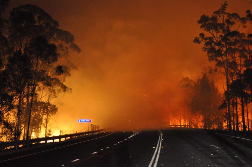 A wildfire near Deans Gap, Australia crosses the Princes Highway, Tuesday, Jan. 8, 2013. (NSW Rural Fire Service / James Morris)