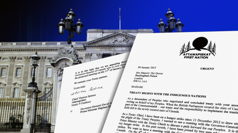 Theresa Spence has written a letter to the Queen, requesting her to force Governor General David Johnston to attend a meeting between First Nations leaders and the prime minister.