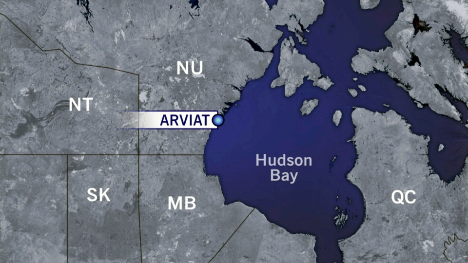 Two seal hunters were stranded on an ice floe in Hudson Bay near Arviat, Nunavut, on Wednesday, Jan. 9, 2013.
