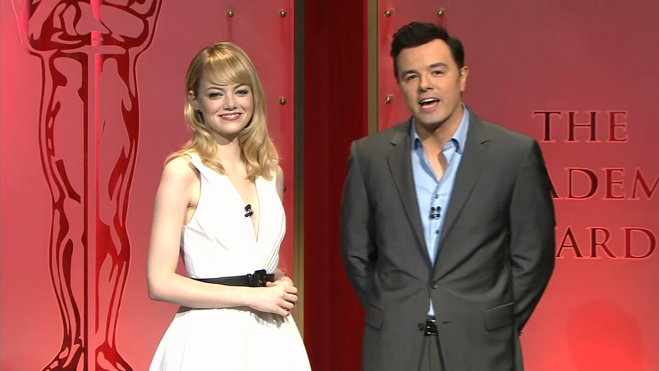 Seth MacFarlane and Emma Stone announce the Oscar nominations from Los Angeles, Thursday, Jan. 10, 2013.