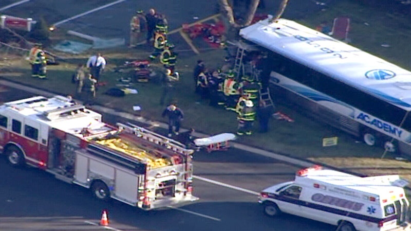 Emergency crews at the scene of a bus crash in New Jersey, Thursday, Jan. 10, 2013.