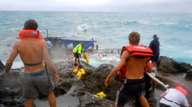 Christmas In Australia Background.Finger Pointing In Wake Of Deadly Boat Crash Off Australia
