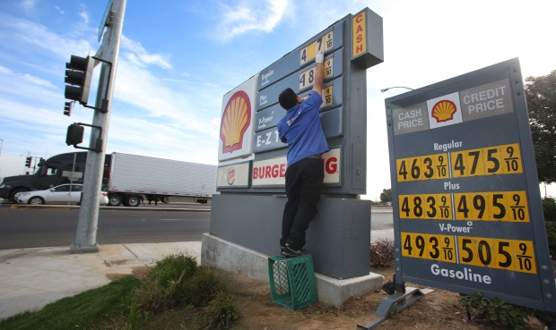 Gas prices at Shell Station in California