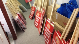Signs are at the ready in the Elementary Teachers Federation's Ottawa office as members await word if they can protest