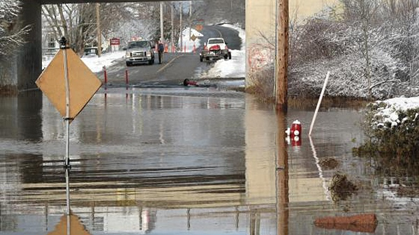 A flooded street in St. George, N.B. is shown, Wednesday, Dec.15, 2010. (Shelly Merrill-MacKillop / MyNews.CTV.ca)