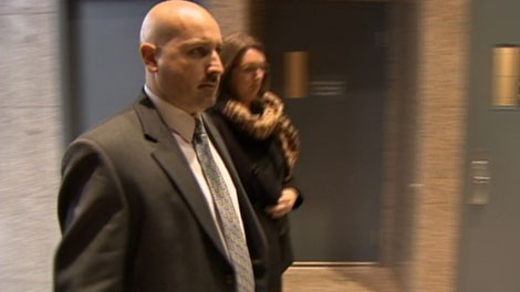 Vancouver Const. Lee Chipperfield walks into a coroner's inquest, where he testified about shooting Paul Boyd. Dec. 15, 2010. (CTV)