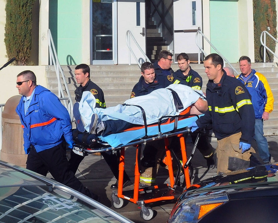 This image shows paramedics transporting a student wounded during a shooting Thursday Jan. 10, 2013 at San Joaquin Valley high school in Taft, Calif. (AP / Doug Keeler, Taft Midway Driller)