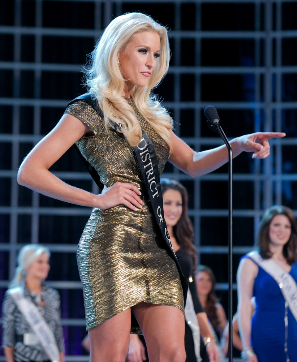 This photo courtesy Miss America Organization shows Miss DC, Allyn Rose, during preliminary competition at the 2013 Miss America Pageant in Las Vegas, Tuesday, Jan. 8, 2013. (AP Photo/Courtesy Miss America Organization)