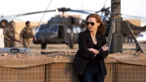 Jessica Chastain plays a member of the elite team of spies and military operatives stationed in a covert base overseas in a scene from Alliance Films' 'Zero Dark Thirty'