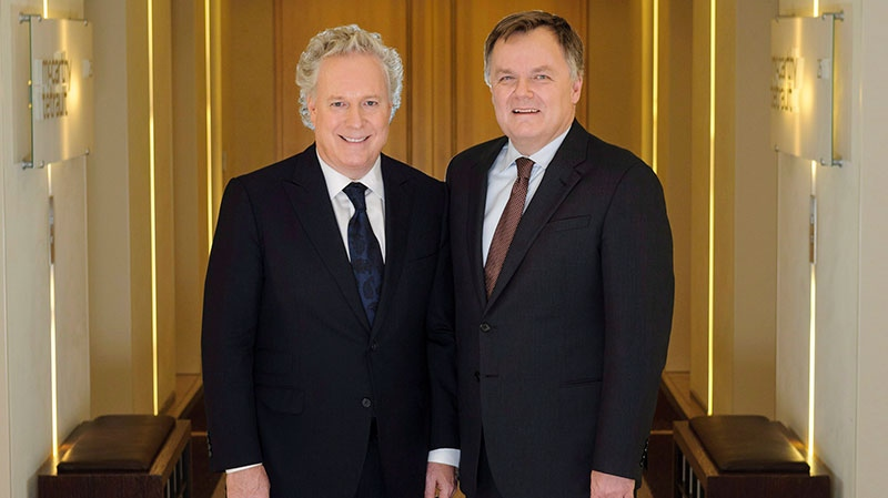 Marc-Andre Blanchard, right, is shown with former Quebec premier Jean Charest in this file photo.