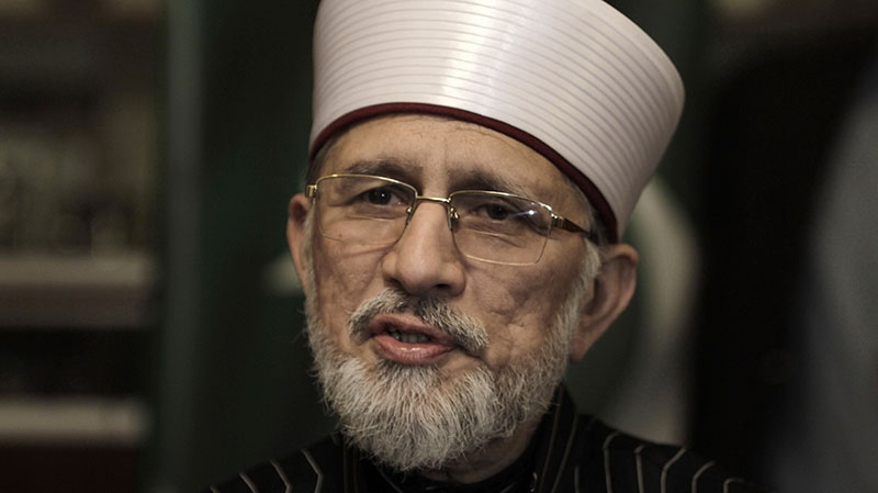 In this Wednesday, Jan. 9, 2013, photo, Pakistani cleric Tahir-ul-Qadri, speaks during an interview with The Associated Press, in Lahore, Pakistan. (AP / K.M. Chaudary)