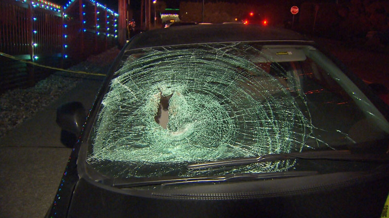 RCMP are investigating after a driver struck a pedestrian on the Mount Seymour Parkway Thurs., Jan 10. (CTV)