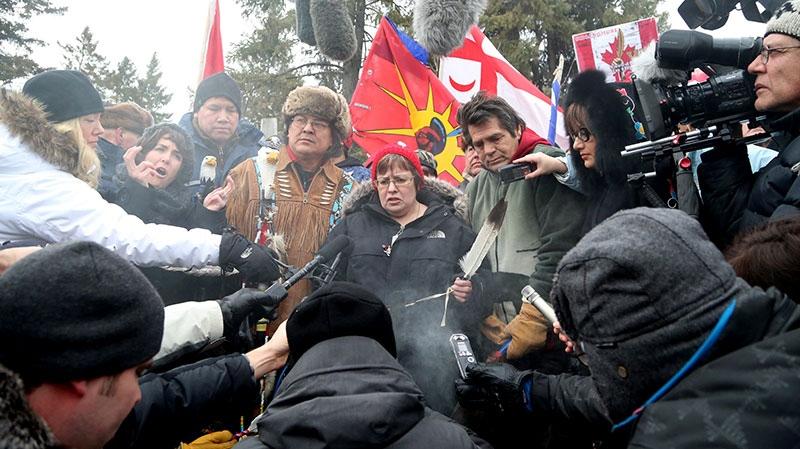 Attawapiskat Chief Theresa Spence makes a brief statement on Victoria Island near Parliament Hill in Ottawa, Friday, Jan. 11, 2013. (Patrick Doyle / THE CANADIAN PRESS)