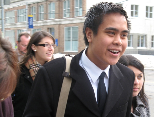Ryerson University student Chris Avenir leaves a news conference at the university in Toronto on Tuesday, March 11, 2008. (Colin Perkel / THE CANADIAN PRESS)
