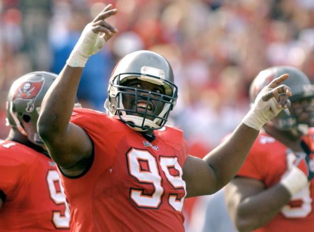 Hall of Fame finalist Warren Sapp on Jan. 12, 2003
