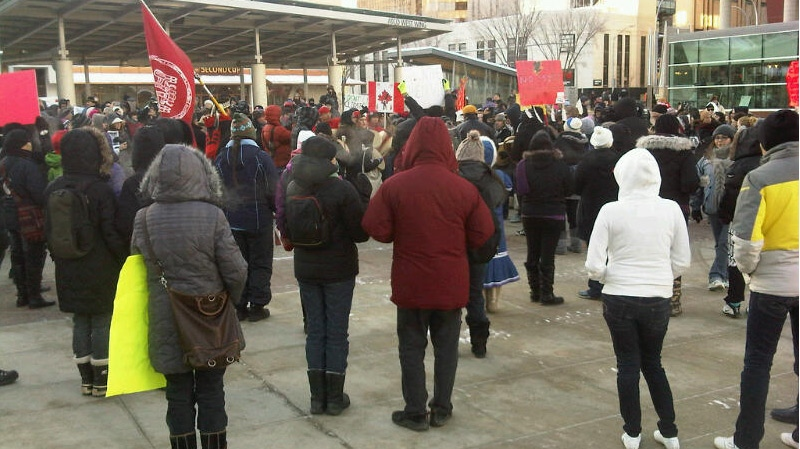 Hundreds of 'Idle No More' protestors gather at Churchill Square in Edmonton on Friday, January 11.