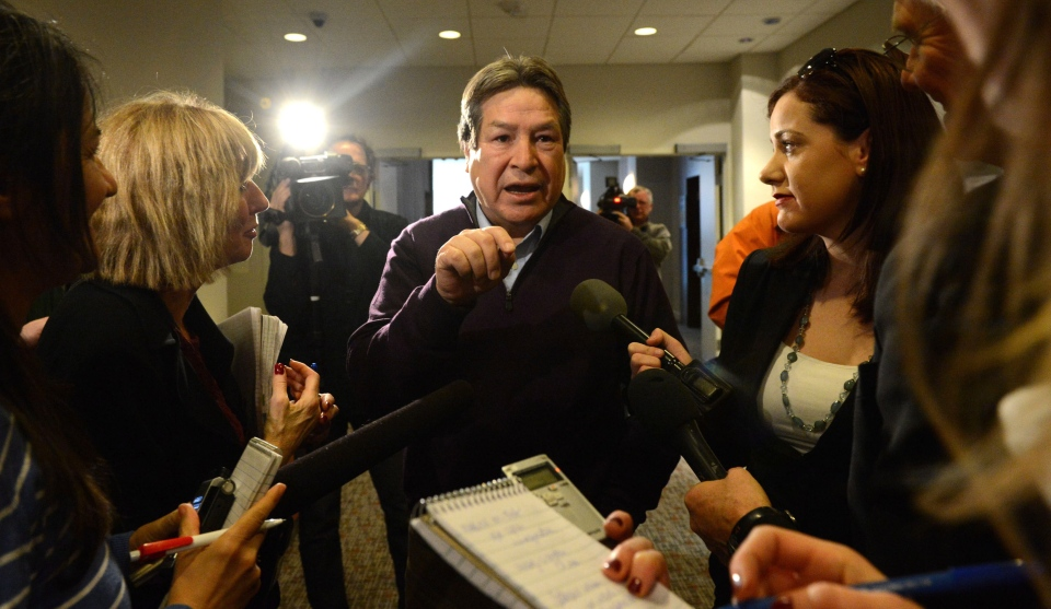 Grand Chief Gordon Peters speaks to reporters following a meeting with Ontario Chiefs in Ottawa on Friday, Jan. 11, 2013. (Sean Kilpatrick / THE CANADIAN PRESS)