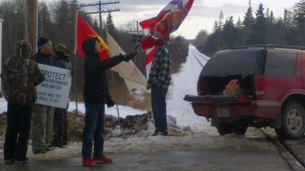 Members of the Millbrook First Nation have blocked a rail line between Halifax and Truro as part of the Idle No More protests.