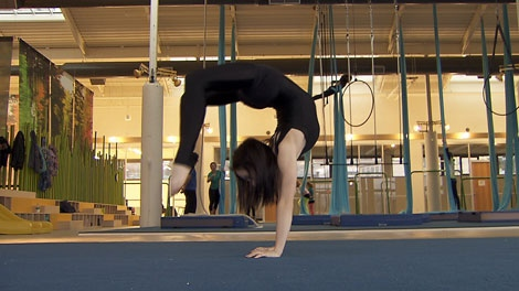 Brook Pinard is a student at the Vancouver Circus School. Dec. 16, 2010. (CTV)