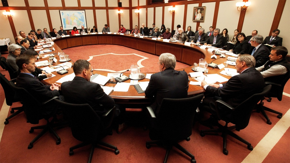 Prime Minister Stephen Harper participates in a working meeting with First Nations leaders in Ottawa on Friday, Jan. 11, 2013.