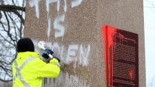 Sir John A. MacDonald graffiti